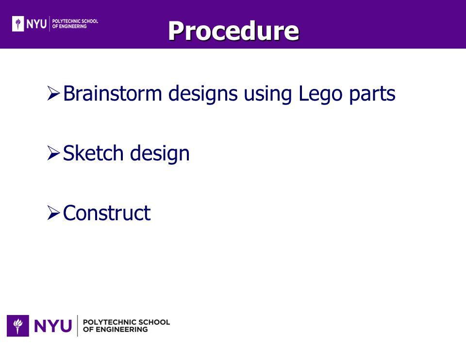 Procedure Brainstorm designs using Lego parts Sketch design Construct
