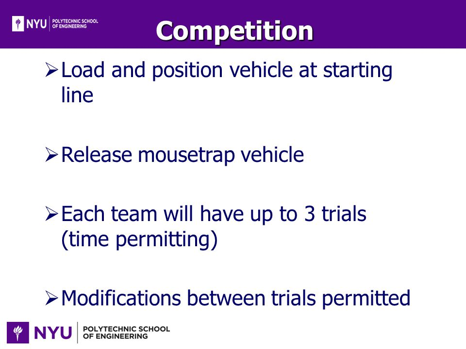 Competition Load and position vehicle at starting line