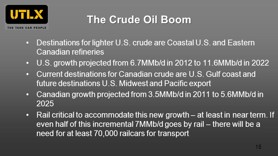 The Crude Oil Boom Destinations for lighter U.S. crude are Coastal U.S. and Eastern Canadian refineries.