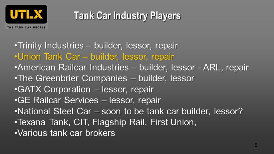 Tank Car Industry Players