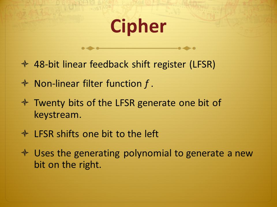 Cipher 48-bit linear feedback shift register (LFSR)