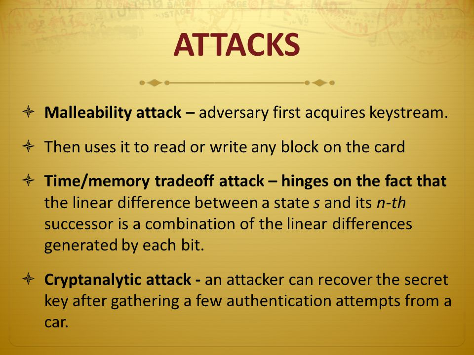 ATTACKS Malleability attack – adversary first acquires keystream.