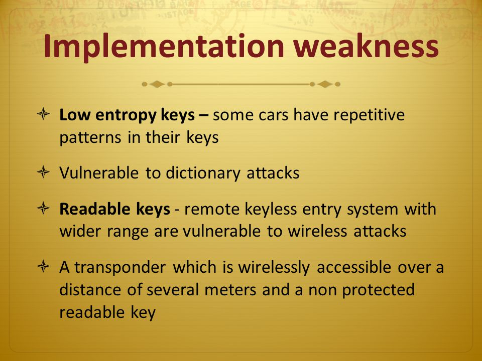 Implementation weakness