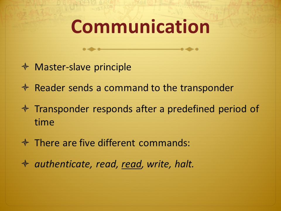 Communication Master-slave principle