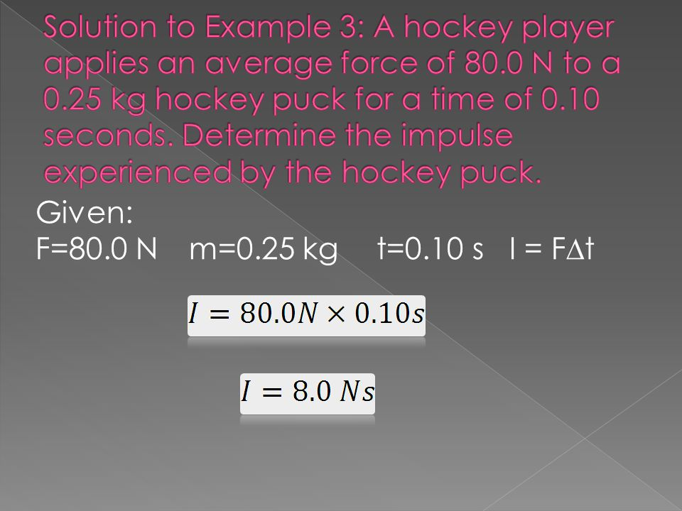 Solution to Example 3: A hockey player applies an average force of 80