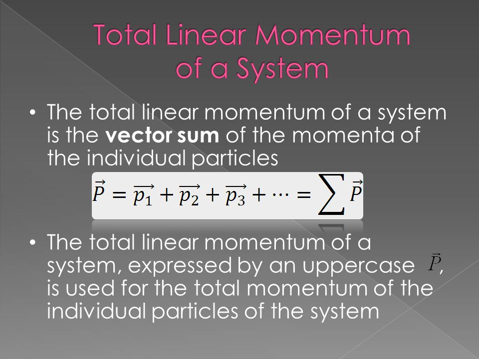 Total Linear Momentum of a System