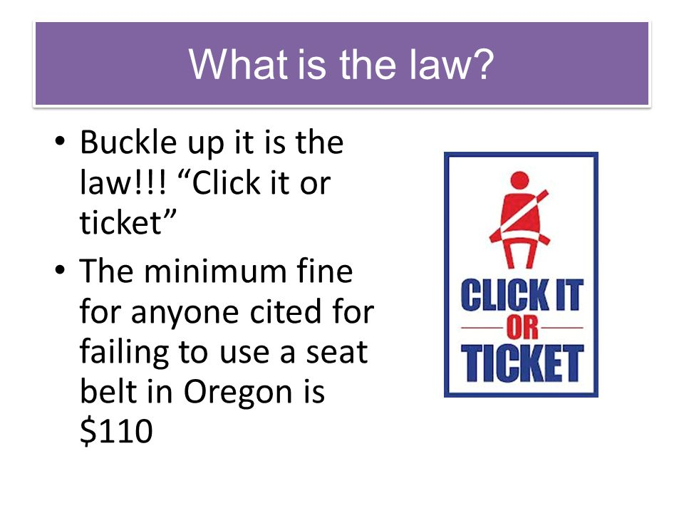 What is the law Buckle up it is the law!!! Click it or ticket