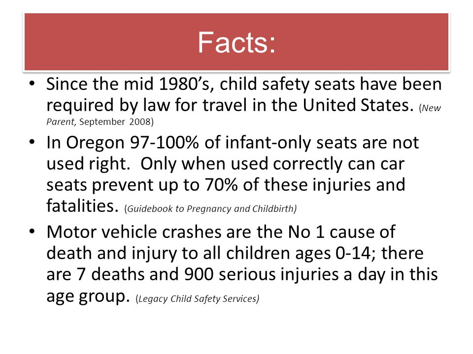 Facts: Since the mid 1980's, child safety seats have been required by law for travel in the United States. (New Parent, September 2008)