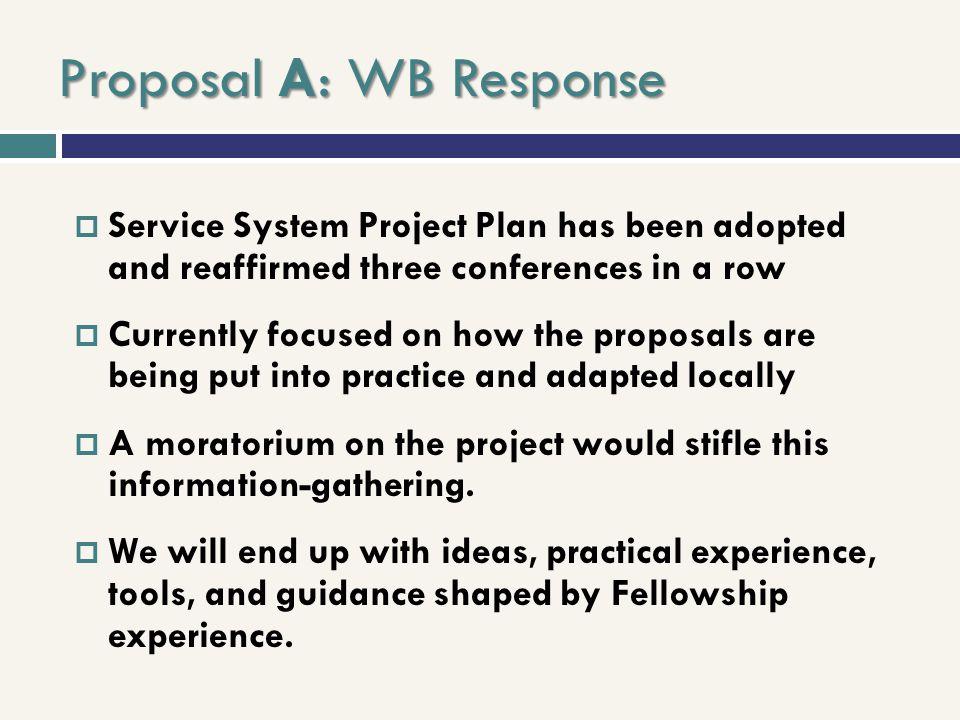 Proposal A: WB Response