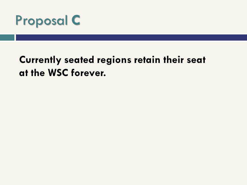 Proposal C Currently seated regions retain their seat