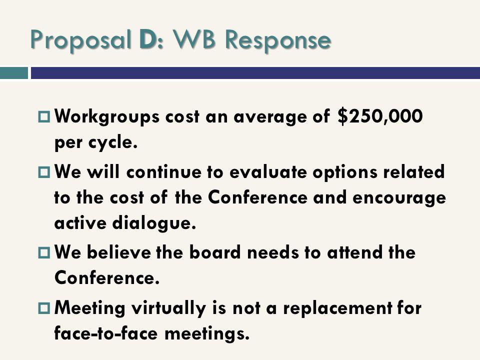 Proposal D: WB Response