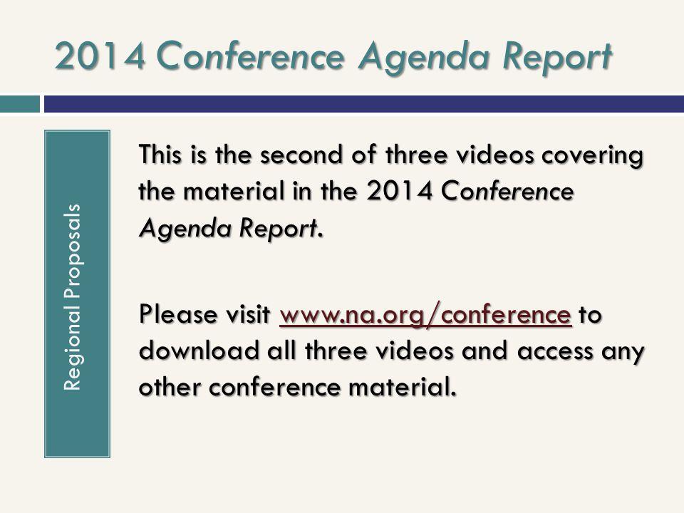 2014 Conference Agenda Report