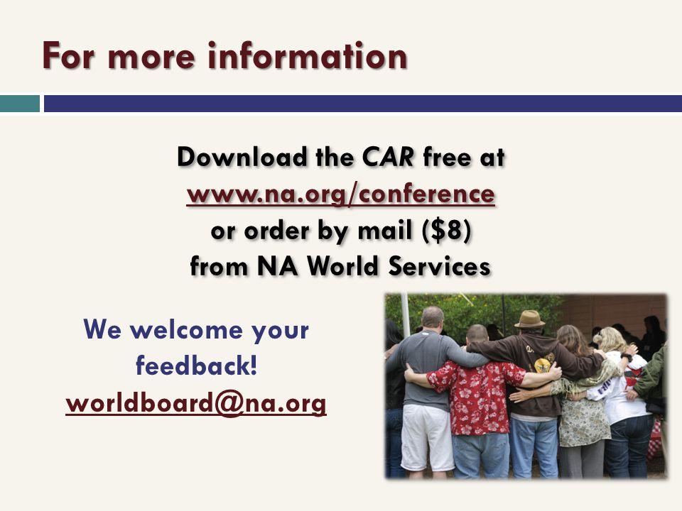 We welcome your feedback! worldboard@na.org