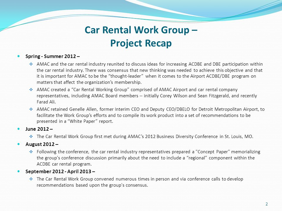 Car Rental Work Group – Project Recap