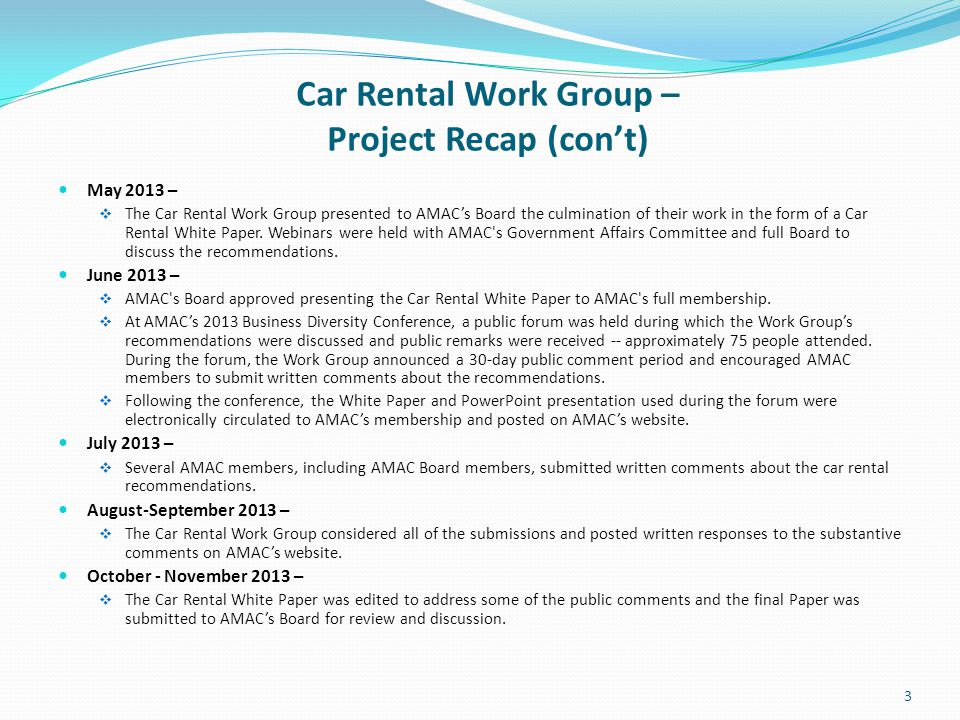 Car Rental Work Group – Project Recap (con't)