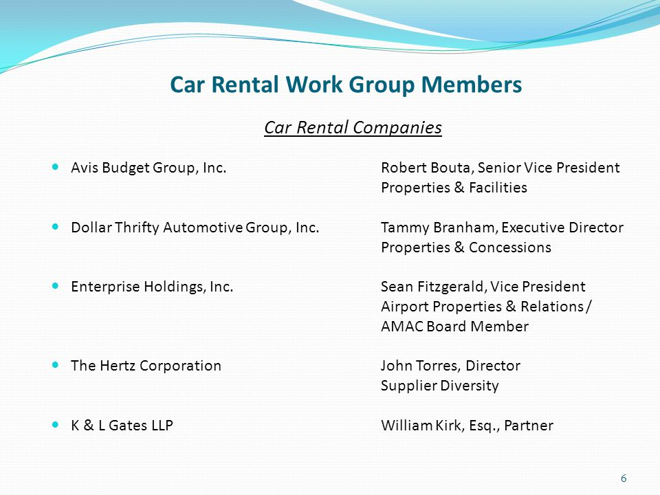 Car Rental Work Group Members