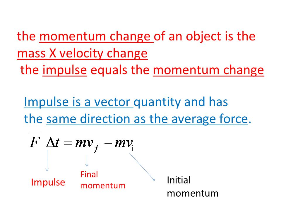 the momentum change of an object is the mass X velocity change