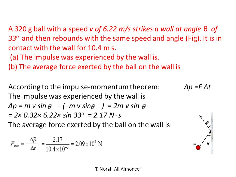 (a) The impulse was experienced by the wall is.