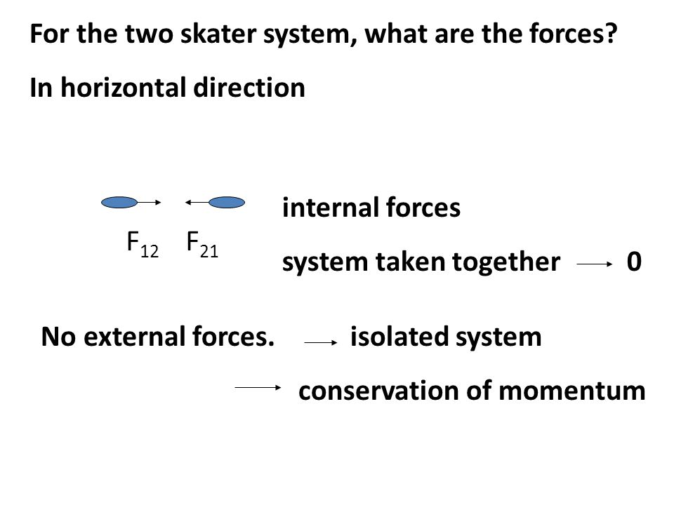 For the two skater system, what are the forces