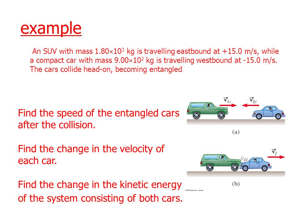 example Find the speed of the entangled cars after the collision.