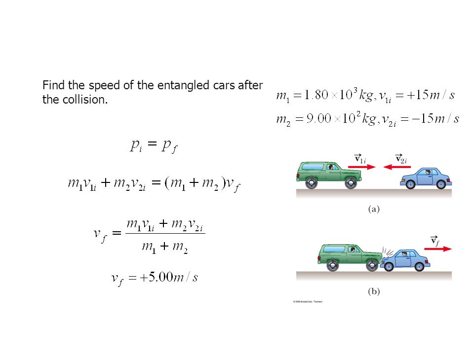 Find the speed of the entangled cars after the collision.