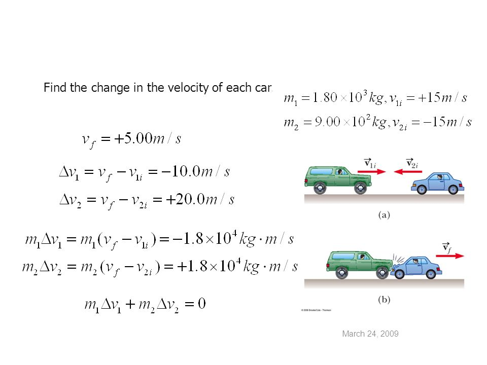 Find the change in the velocity of each car.
