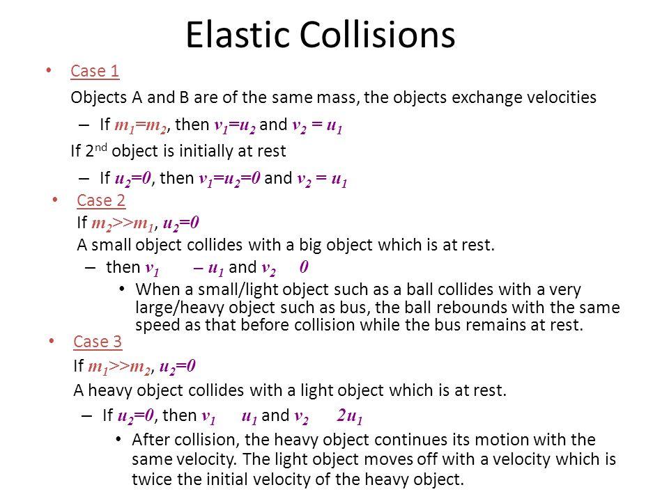 Elastic Collisions Case 1