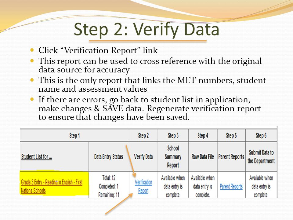 Step 2: Verify Data Click Verification Report link