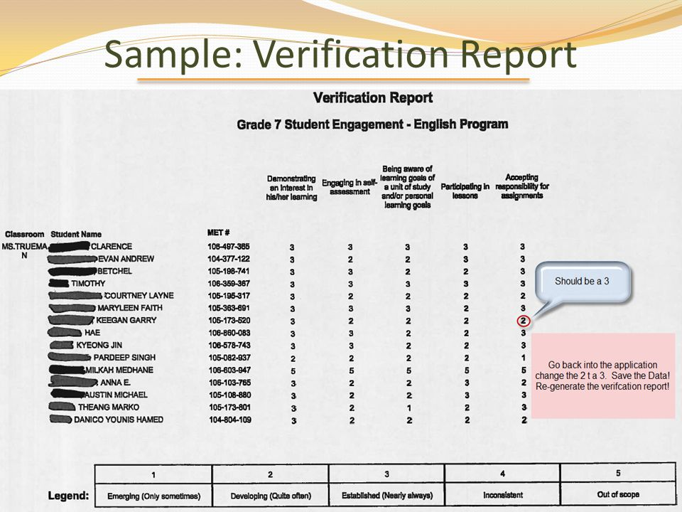 Sample: Verification Report