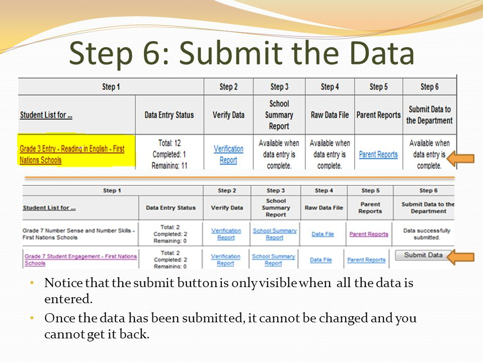 Step 6: Submit the Data Notice that the submit button is only visible when all the data is entered.