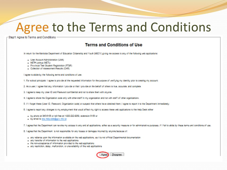 Agree to the Terms and Conditions
