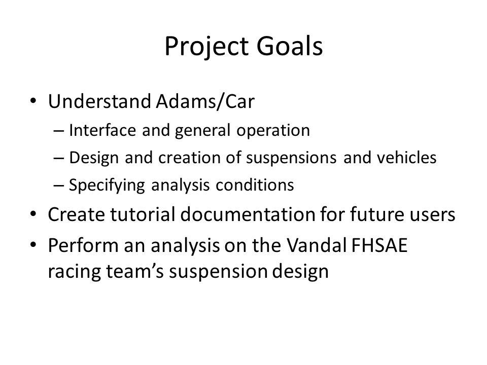Project Goals Understand Adams/Car