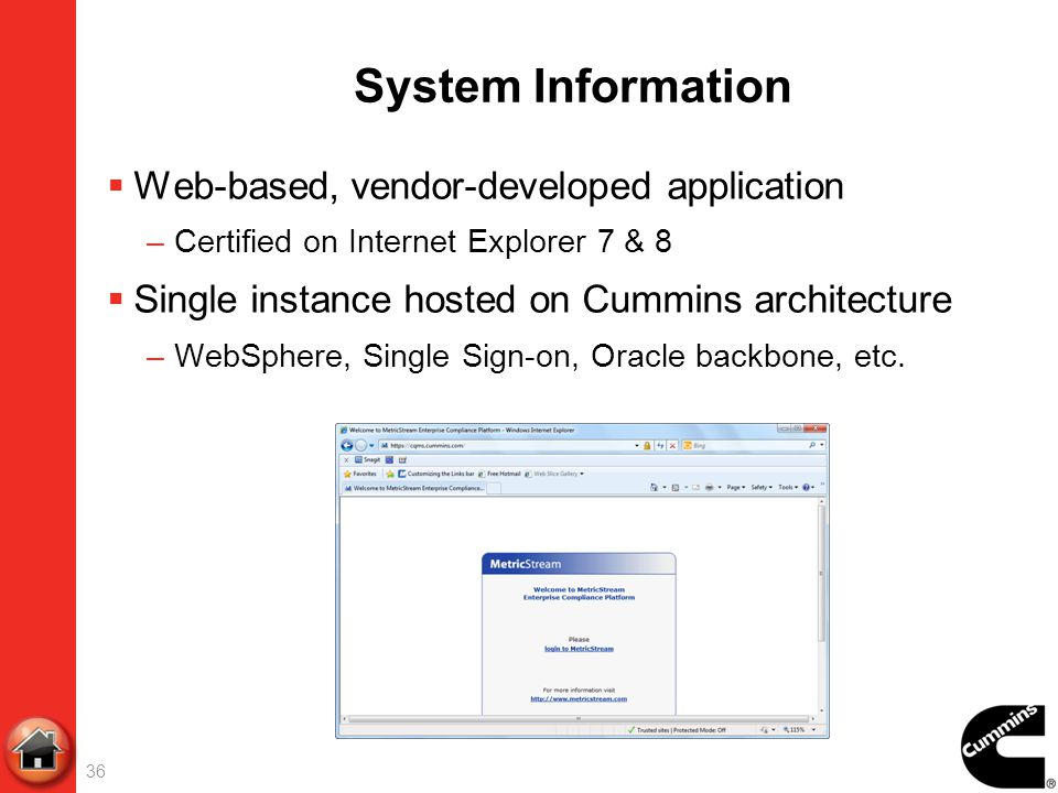 System Information Web-based, vendor-developed application