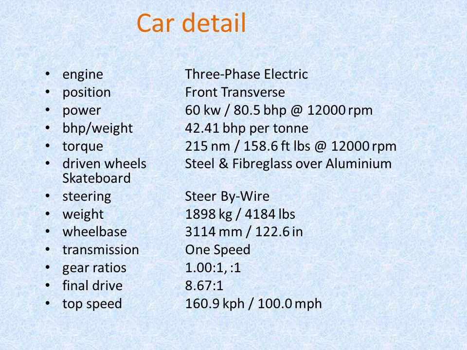 Car detail engine Three-Phase Electric position Front Transverse