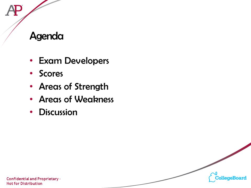 Agenda Exam Developers Scores Areas of Strength Areas of Weakness
