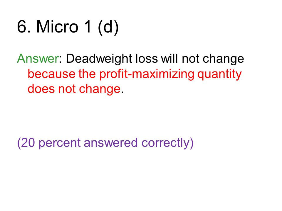 6. Micro 1 (d) Answer: Deadweight loss will not change because the profit-maximizing quantity does not change.