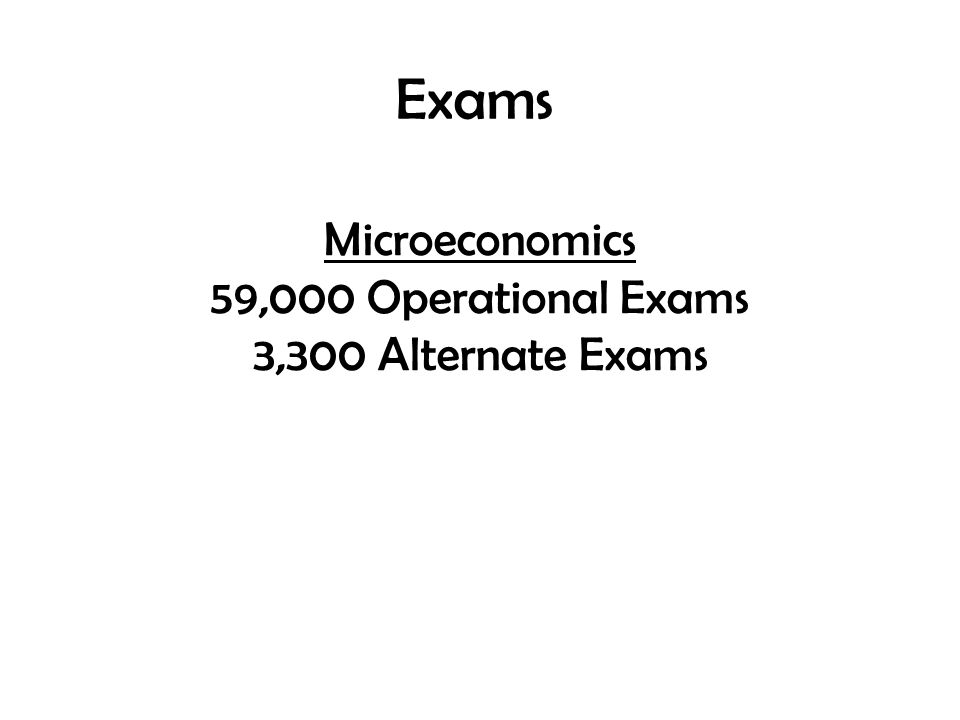 Exams Microeconomics 59,000 Operational Exams 3,300 Alternate Exams