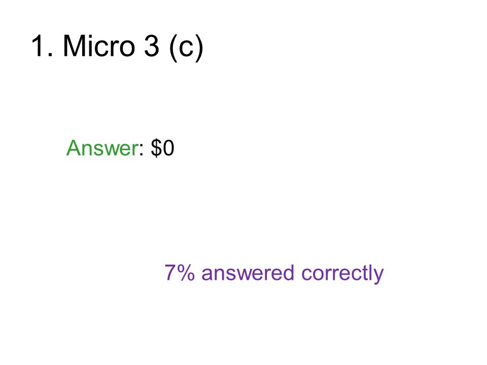 1. Micro 3 (c) Answer: $0 7% answered correctly