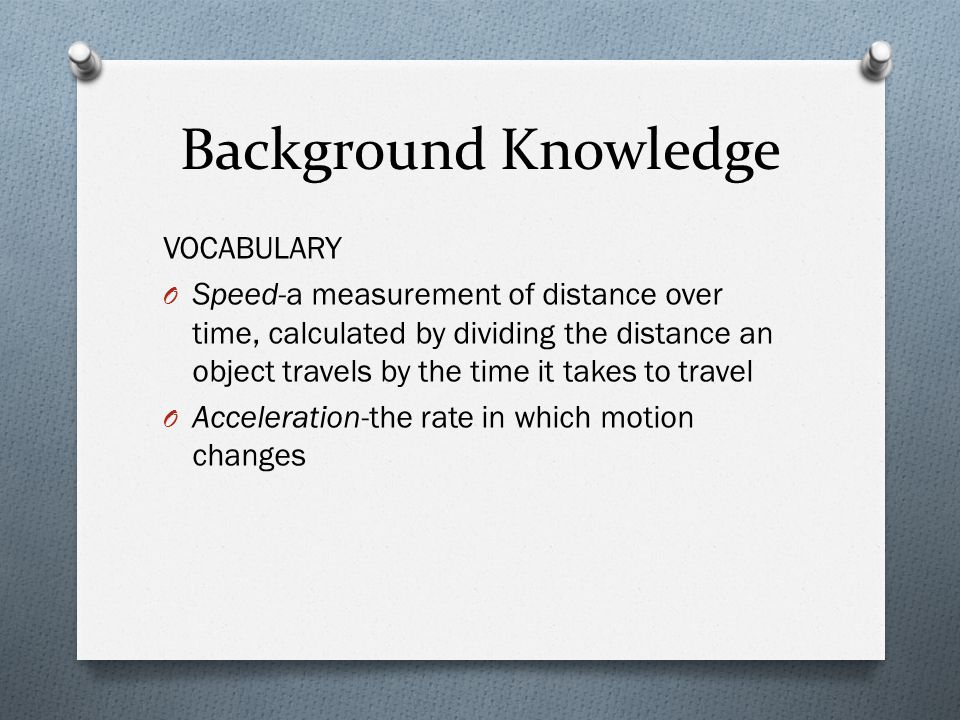 Background Knowledge VOCABULARY