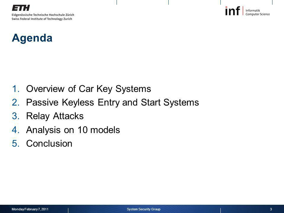 Agenda Overview of Car Key Systems