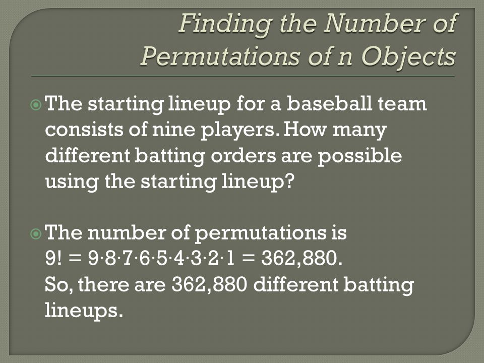 Finding the Number of Permutations of n Objects