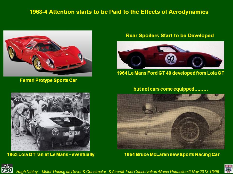 1963-4 Attention starts to be Paid to the Effects of Aerodynamics