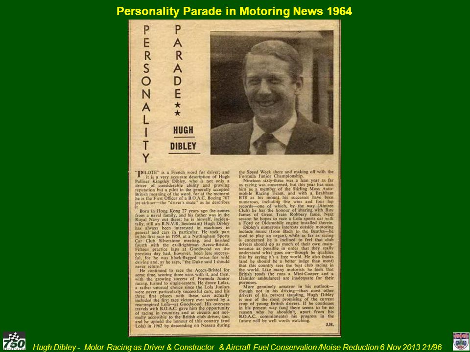Personality Parade in Motoring News 1964