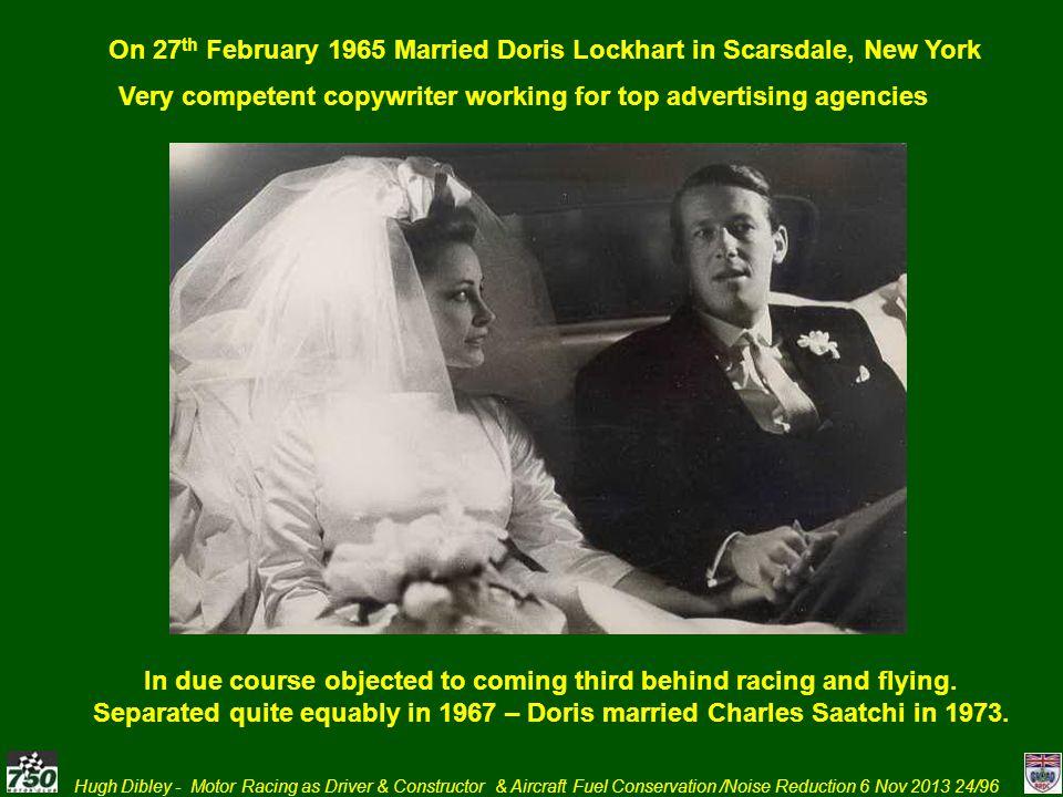 On 27th February 1965 Married Doris Lockhart in Scarsdale, New York