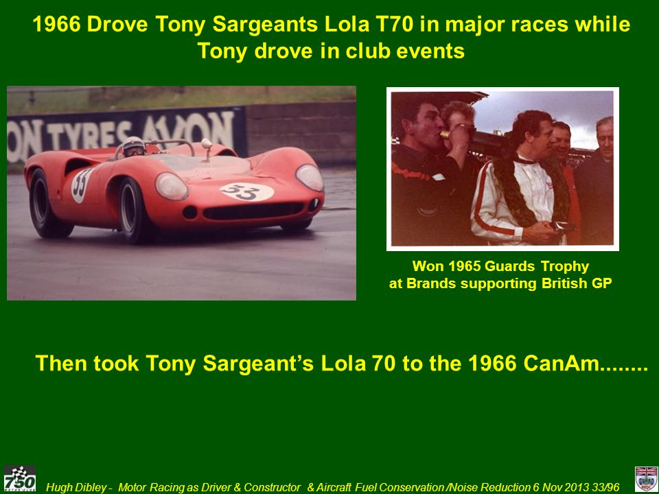 Then took Tony Sargeant's Lola 70 to the 1966 CanAm........