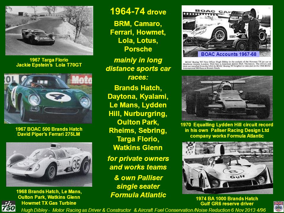 1964-74 drove BRM, Camaro, Ferrari, Howmet, Lola, Lotus, Porsche