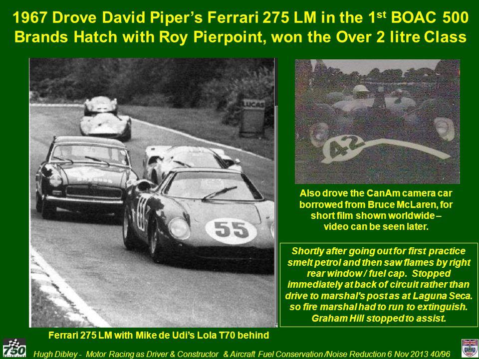 1967 Drove David Piper's Ferrari 275 LM in the 1st BOAC 500