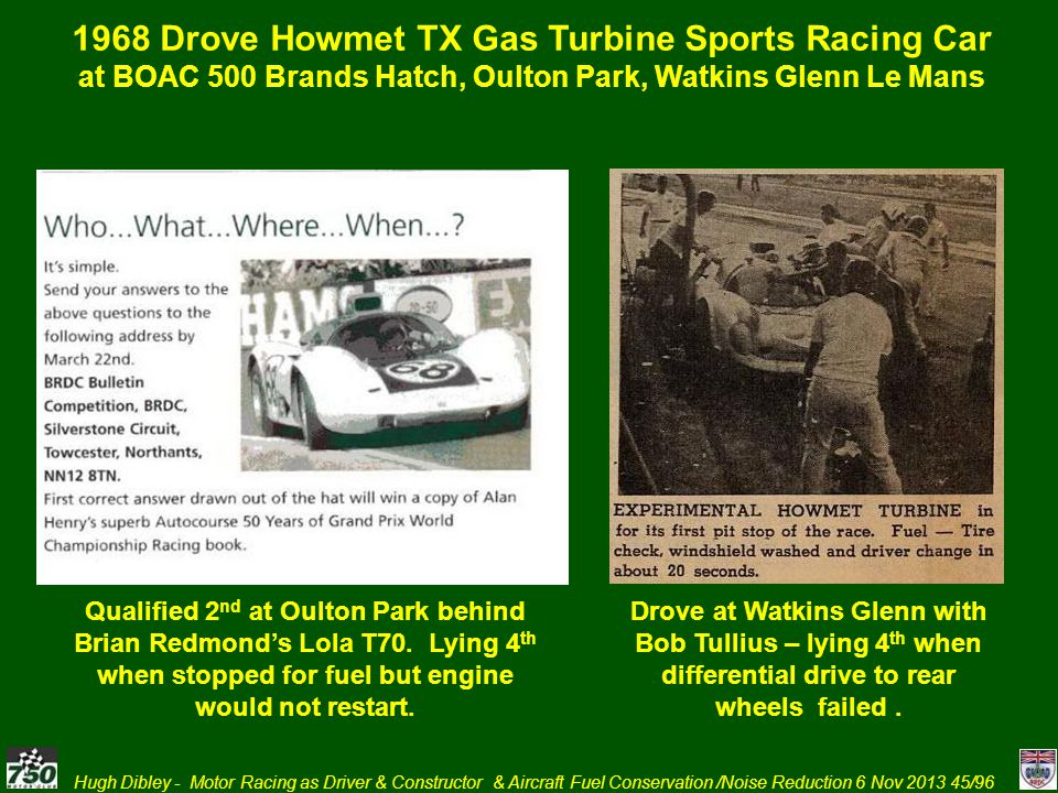 1968 Drove Howmet TX Gas Turbine Sports Racing Car