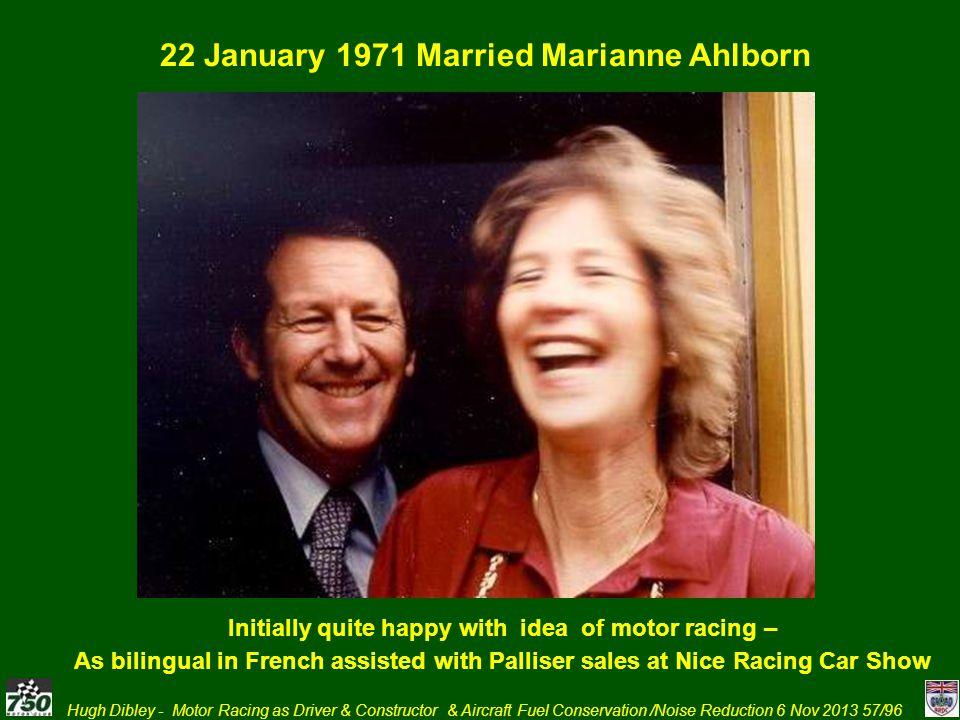 22 January 1971 Married Marianne Ahlborn