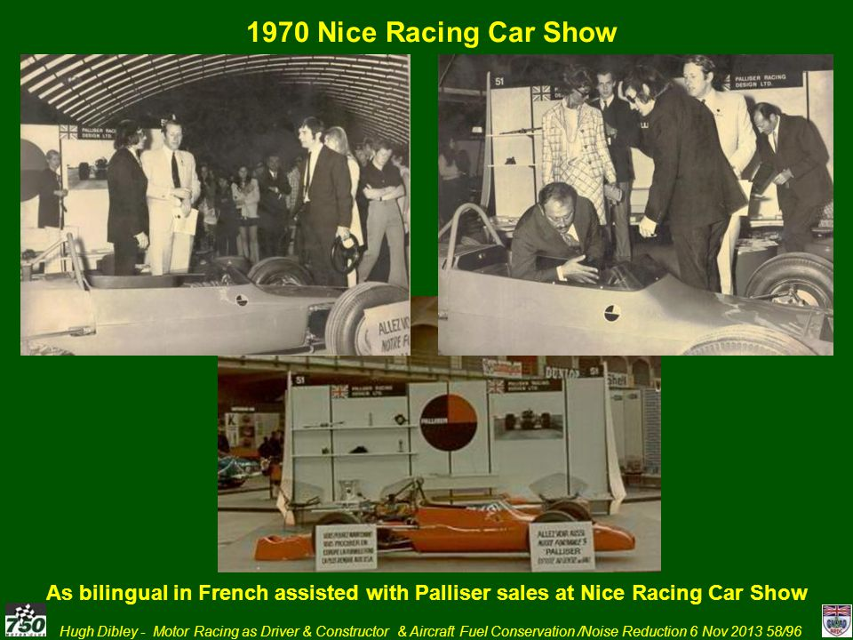 1970 Nice Racing Car Show As bilingual in French assisted with Palliser sales at Nice Racing Car Show.